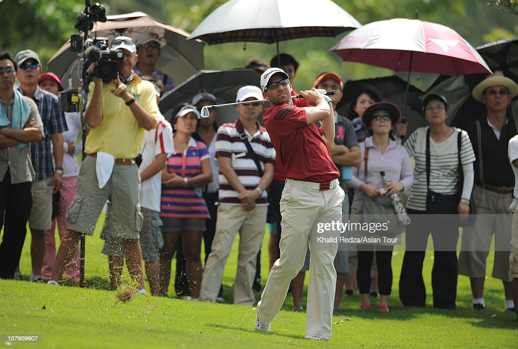 Sergio Garcia of Spain plays a shot during round three of the Thailand Golf Championship at Amata Spring Country Club on December 8, 2012 in Bangkok, Thailand.