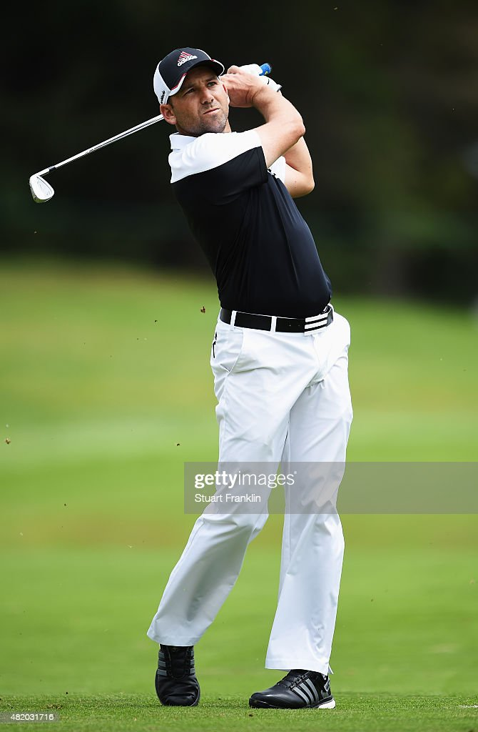 Sergio Garcia of Spain plays a shot during the final round of the Omega European Masters at CranssurSierre Golf Club on July 26 2015 in CransMontana...