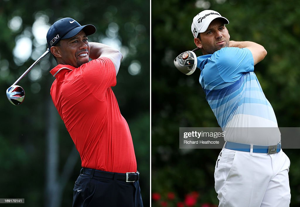 In this composite image a comparison has been made between <a gi-track='captionPersonalityLinkClicked' href=/galleries/search?phrase=Tiger+Woods&family=editorial&specificpeople=157537 ng-click='$event.stopPropagation()'>Tiger Woods</a> (L) and <a gi-track='captionPersonalityLinkClicked' href=/galleries/search?phrase=Sergio+Garcia+-+Golfer&family=editorial&specificpeople=167240 ng-click='$event.stopPropagation()'>Sergio Garcia</a>. Original image ID's are 168621602 (L) and 168566008 (R). PONTE VEDRA BEACH, FL - MAY 11: <a gi-track='captionPersonalityLinkClicked' href=/galleries/search?phrase=Sergio+Garcia+-+Golfer&family=editorial&specificpeople=167240 ng-click='$event.stopPropagation()'>Sergio Garcia</a> of Spain plays a shot from the 11th tee during round three of THE PLAYERS Championship at THE PLAYERS Stadium course at TPC Sawgrass on May 11, 2013 in Ponte Vedra Beach, Florida.