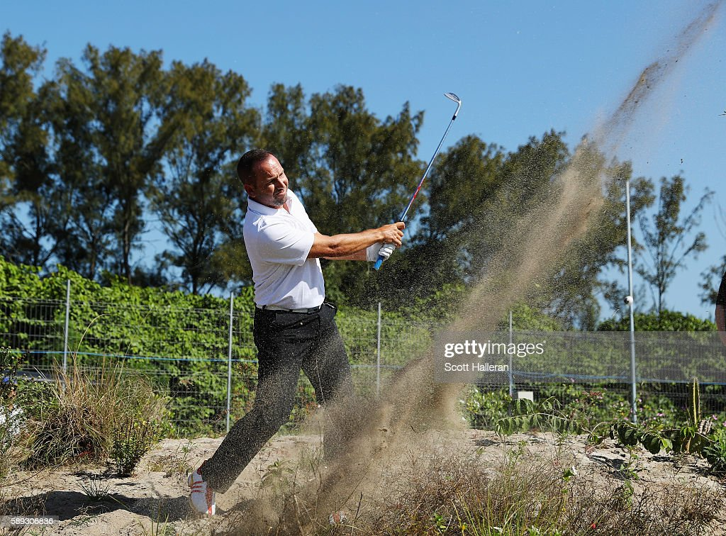 Sergio Garcia of Spain plays a shot from the waste are on the 13th hole during the third round of the golf on Day 8 of the Rio 2016 Olympic Games at...