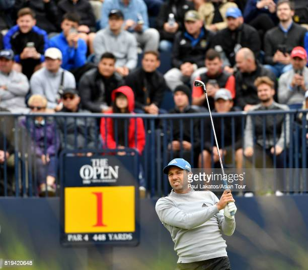 Sergio Garcia of Spain plays a shot on hole 1 at Royal Birkdale on July 20 2017 in Southport England