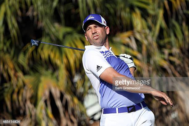 Sergio Garcia of Spain plays a shot on the 13th hole during the second round of the World Golf ChampionshipsCadillac Championship at Trump National...