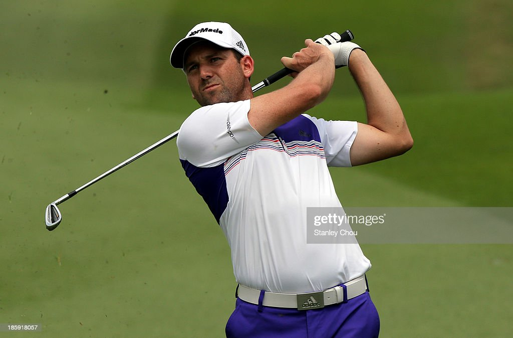 Sergio Garcia of Spain plays a shot on the 3rd hole during round three of the CIMB Classic at Kuala Lumpur Golf & Country Club on October 26, 2013 in Kuala Lumpur, Malaysia.