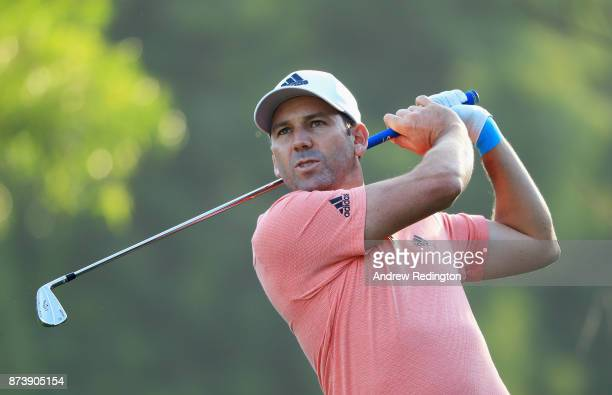 Sergio Garcia of Spain plays a tee shot on the 4th hole during the ProAm prior to the DP World Tour Championship at Jumeirah Golf Estates on November...