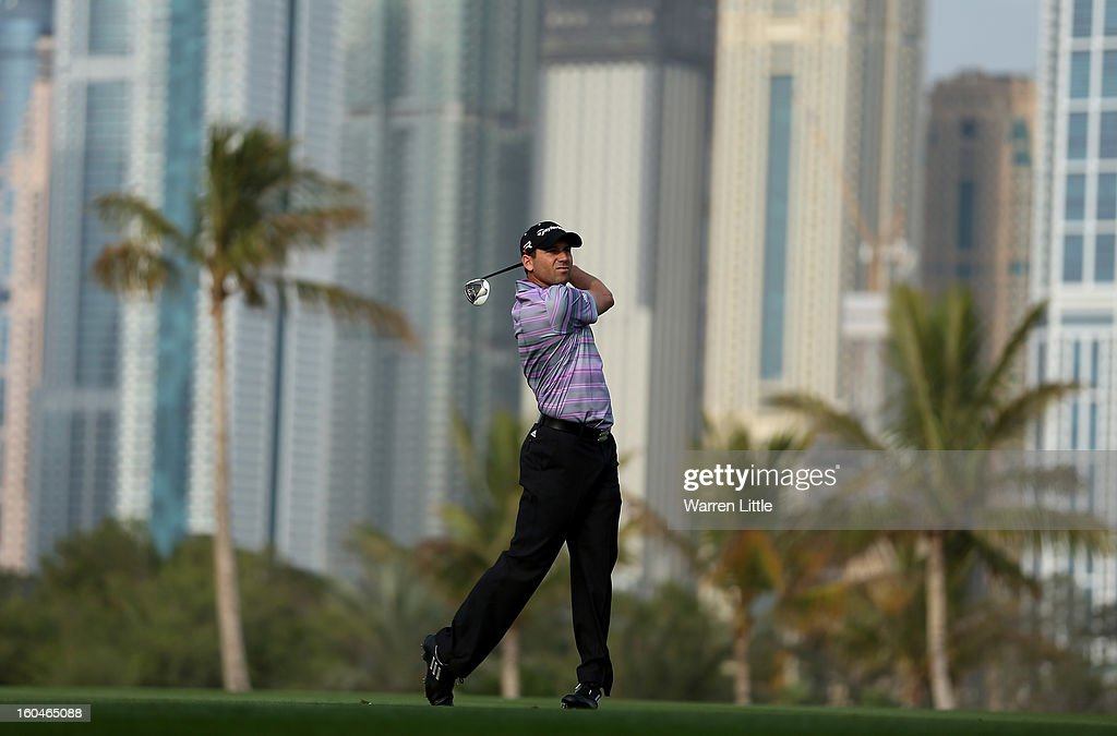 Sergio Garcia of Spain plays his second shot into the 13th green during the second round of the Omega Dubai Desert Classic at Emirates Golf Club on February 1, 2013 in Dubai, United Arab Emirates.