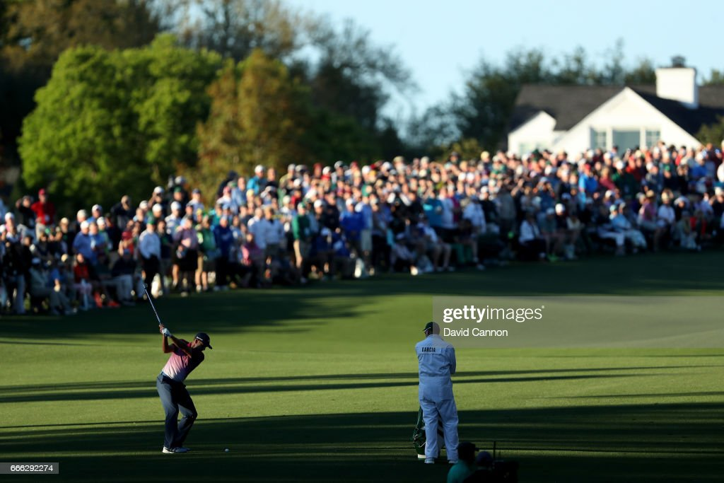 Sergio Garcia of Spain plays his second shot on the 18th hole during the third round of the 2017 Masters Tournament at Augusta National Golf Club on April 8, 2017 in Augusta, Georgia.