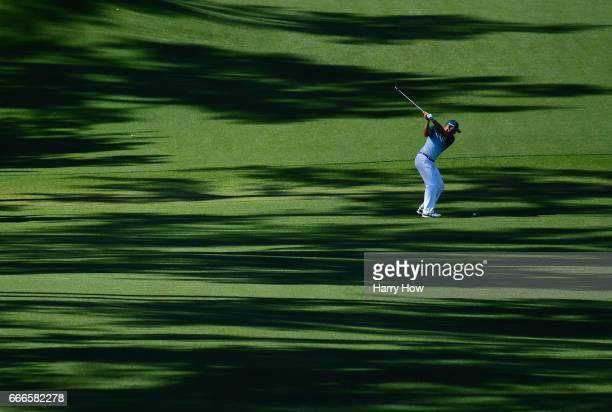 Sergio Garcia of Spain plays his second shot on the eighth hole during the final round of the 2017 Masters Tournament at Augusta National Golf Club...