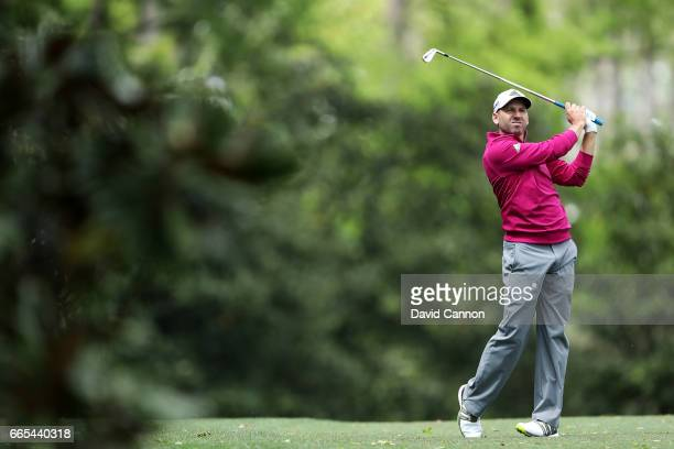 Sergio Garcia of Spain plays his second shot on the fifth hole during the first round of the 2017 Masters Tournament at Augusta National Golf Club on...