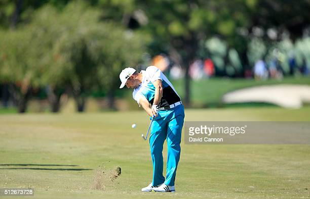 Sergio Garcia of Spain plays his second shot on the par 5 third hole during the third round of the 2016 Honda Classic held on the PGA National Course...