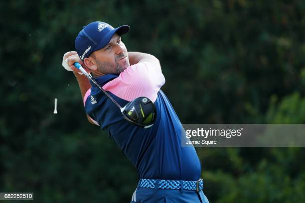 Sergio Garcia of Spain plays his shot from the 11th tee during the second round of THE PLAYERS Championship at the Stadium course at TPC Sawgrass on...