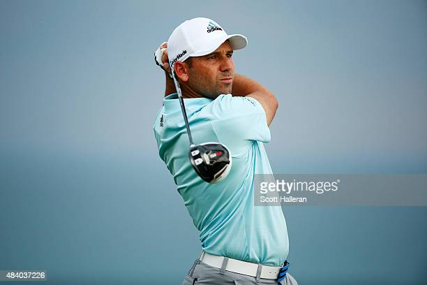 Sergio Garcia of Spain plays his shot from the 16th tee during the second round of the 2015 PGA Championship at Whistling Straits on August 14 2015...