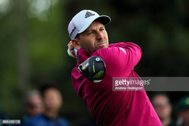 Sergio Garcia of Spain plays his shot from the 18th tee during the first round of the 2017 Masters Tournament at Augusta National Golf Club on April...