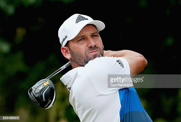 Sergio Garcia of Spain plays his shot from the first tee during the Final Round at ATT Byron Nelson on May 22 2016 in Irving Texas
