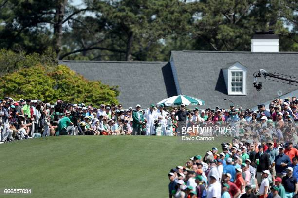 Sergio Garcia of Spain plays his shot from the first tee during the final round of the 2017 Masters Tournament at Augusta National Golf Club on April...