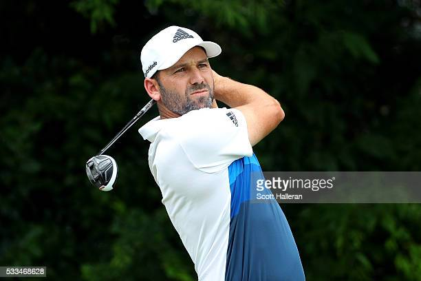 Sergio Garcia of Spain plays his shot from the fourth tee during the Final Round at ATT Byron Nelson on May 22 2016 in Irving Texas
