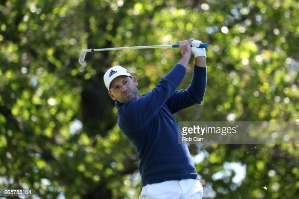 Sergio Garcia of Spain plays his shot from the fourth tee during the second round of the 2017 Masters Tournament at Augusta National Golf Club on...