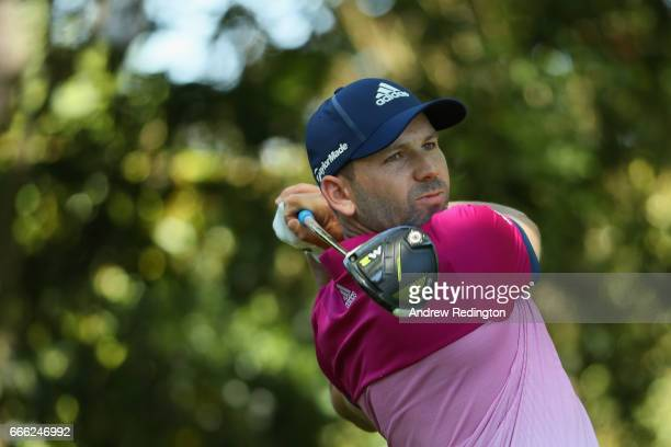 Sergio Garcia of Spain plays his shot from the second tee during the third round of the 2017 Masters Tournament at Augusta National Golf Club on...