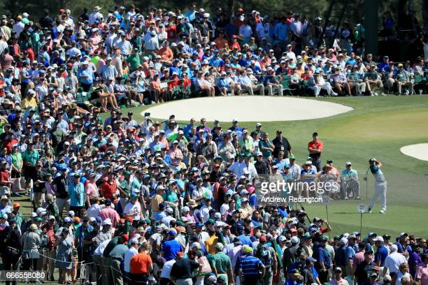 Sergio Garcia of Spain plays his shot from the third tee as patrons look on during the final round of the 2017 Masters Tournament at Augusta National...