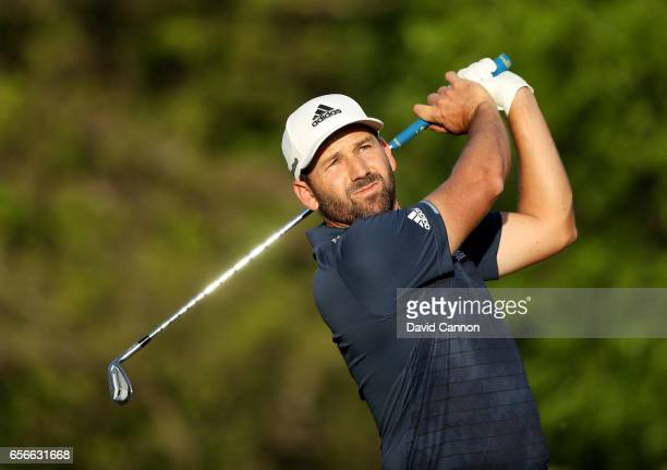 Sergio Garcia of Spain plays his tee shot on the par 3 17th hole in his match against Shane Lowry during the first round of the 2017 Dell Match Play...