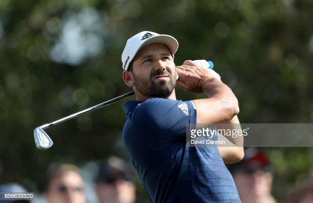 Sergio Garcia of Spain plays his tee shot on the par 3 seventh hole in his match against Shane Lowry during the first round of the 2017 Dell Match...