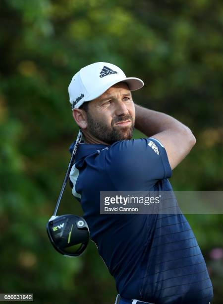 Sergio Garcia of Spain plays his tee shot on the par 4 18th hole in his match against Shane Lowry during the first round of the 2017 Dell Match Play...