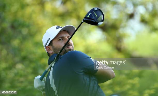Sergio Garcia of Spain plays his tee shot on the par 5 12th hole in his match against Shane Lowry during the first round of the 2017 Dell Match Play...