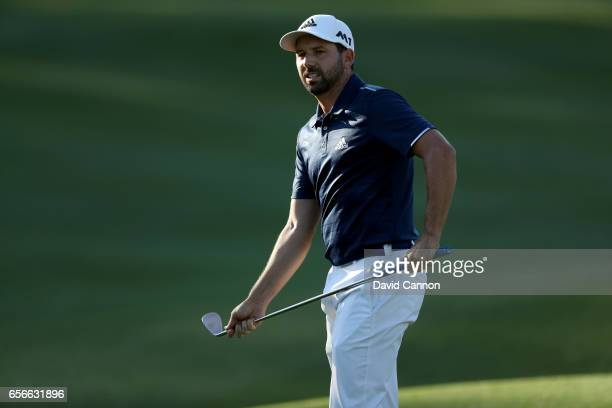 Sergio Garcia of Spain plays his third shot on the par 5 16th hole in his match against Shane Lowry during the first round of the 2017 Dell Match...