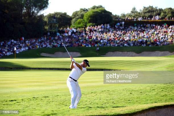 Sergio Garcia of Spain plays into the 17th green during the final round of the Andalucia Masters at Valderrama on October 30 2011 in Sotogrande Spain