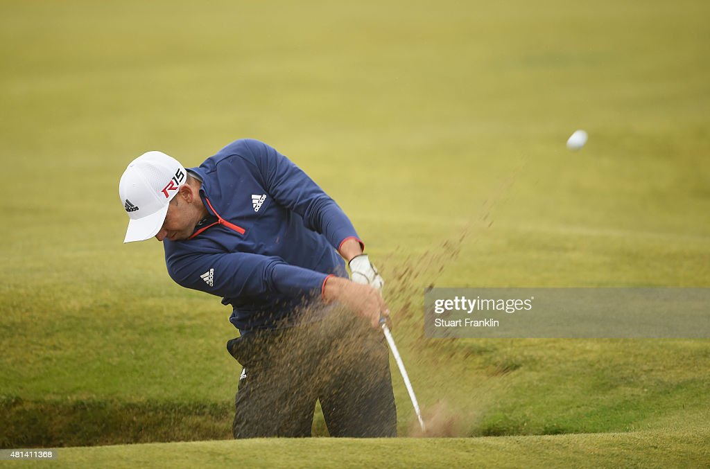 <a gi-track='captionPersonalityLinkClicked' href=/galleries/search?phrase=Sergio+Garcia+-+golf&family=editorial&specificpeople=167240 ng-click='$event.stopPropagation()'>Sergio Garcia</a> of Spain plays out of a bunker on the 12th hole during the final round of the 144th Open Championship at The Old Course on July 20, 2015 in St Andrews, Scotland.