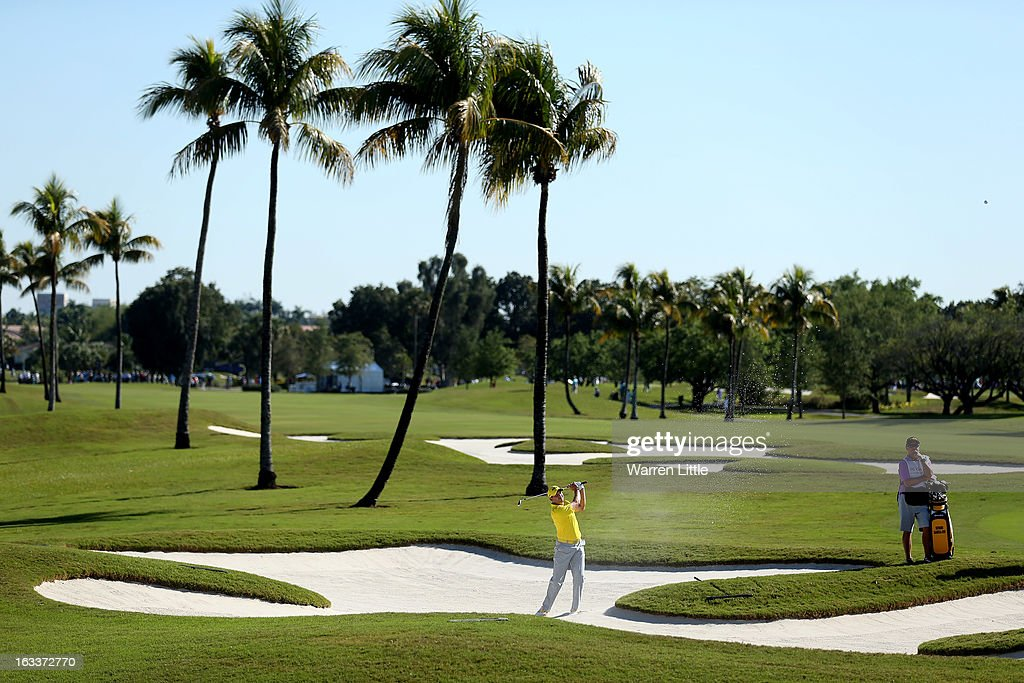 Sergio Garcia of Spain plays out of the 12th greenside bunker during the first round of the WGC - Cadillac Championship at the Trump Doral Golf Resort & Spa on March 7, 2013 in Miami, Florida.