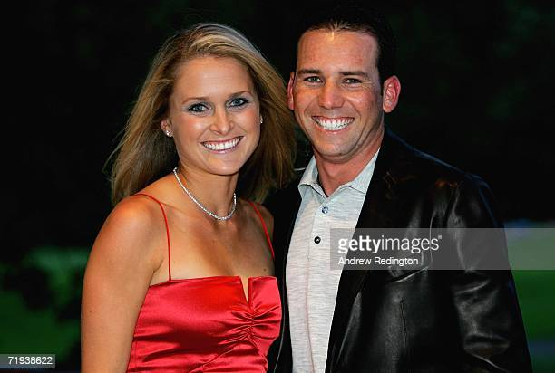 Sergio Garcia of Spain poses with his girlfriend MorganLeigh Norman at The Welcome Dinner after the first official practice day of the 2006 Ryder Cup...