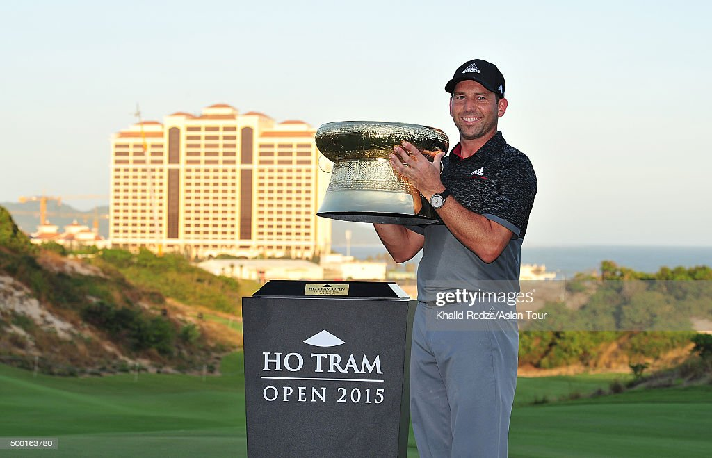 <a gi-track='captionPersonalityLinkClicked' href=/galleries/search?phrase=Sergio+Garcia+-+Golfer&family=editorial&specificpeople=167240 ng-click='$event.stopPropagation()'>Sergio Garcia</a> of Spain poses with the Ho Tram trophy after he won during round four of the Ho Tram Open at The Bluffs Ho Tram Strip on December 6, 2015 in Ho Chi Minh City, Vietnam.