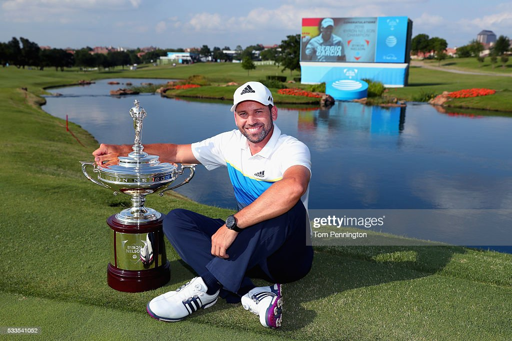 Sergio Garcia of Spain poses with the trophy after winning the ATT Byron Nelson at the TPC Four Seasons Resort on May 22 2016 in Irving Texas