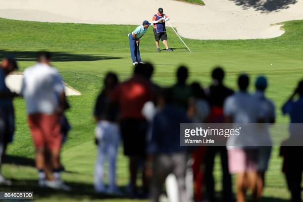 Sergio Garcia of Spain putts on the 10th green during day three of the Andalucia Valderrama Masters at Real Club Valderrama on October 21 2017 in...