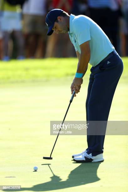 Sergio Garcia of Spain putts on the 16th green during day three of the Andalucia Valderrama Masters at Real Club Valderrama on October 21 2017 in...