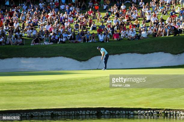 Sergio Garcia of Spain putts on the 17th green during day three of the Andalucia Valderrama Masters at Real Club Valderrama on October 21 2017 in...