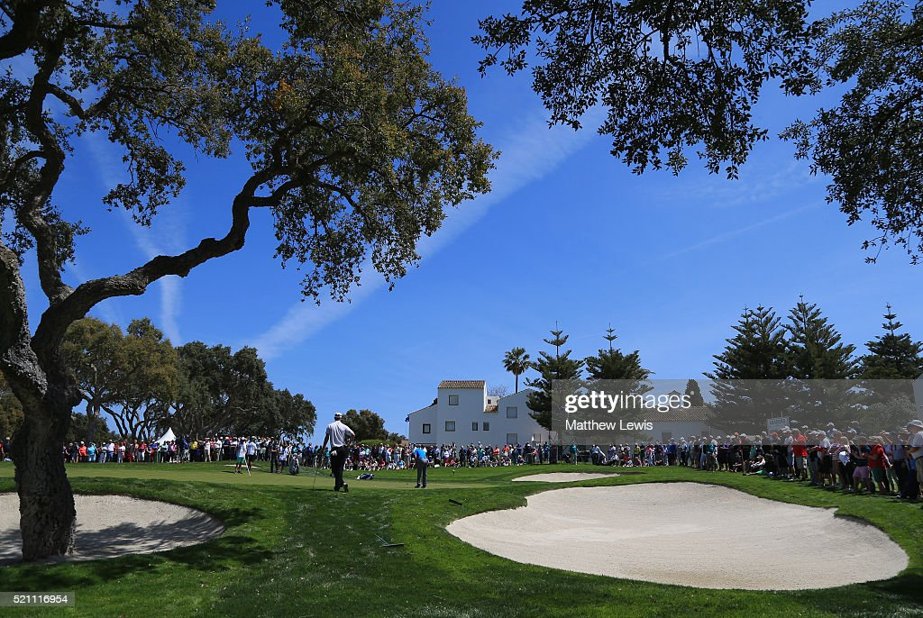 Sergio Garcia of Spain putts on the 9th green during day one of the Open de Espana at Real Club Valderrama on April 14 2016 in Sotogrande Spain