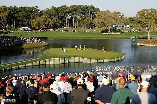 Sergio Garcia of Spain putts on the par three 17th hole during the second round of The Players Championship on the Stadium Course at the TPC Sawgrass...