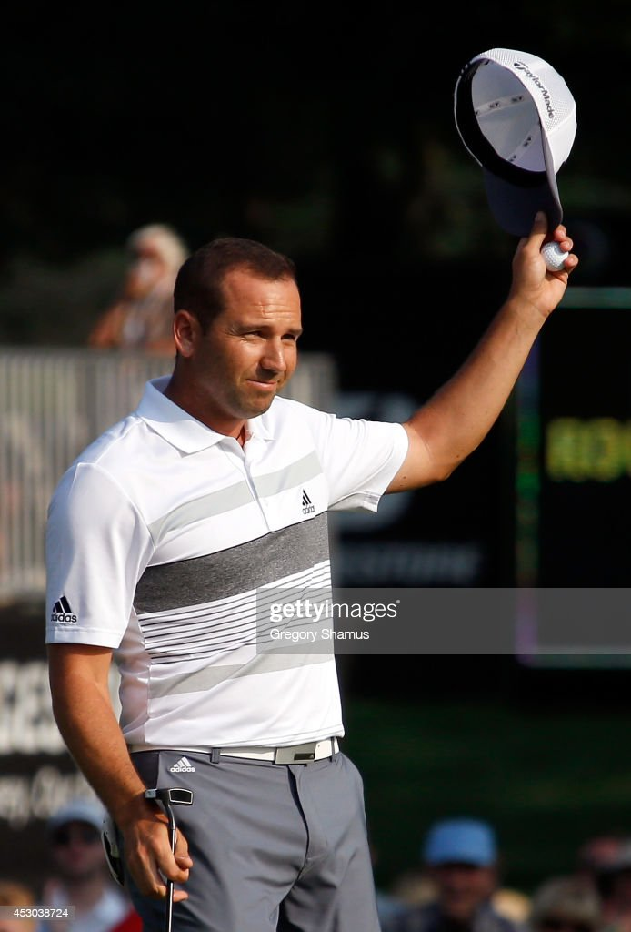Sergio Garcia of Spain reacts after a birdie putt on the 18th green during the second round of the World Golf Championships-Bridgestone Invitational at Firestone Country Club South Course on August 1, 2014 in Akron, Ohio.