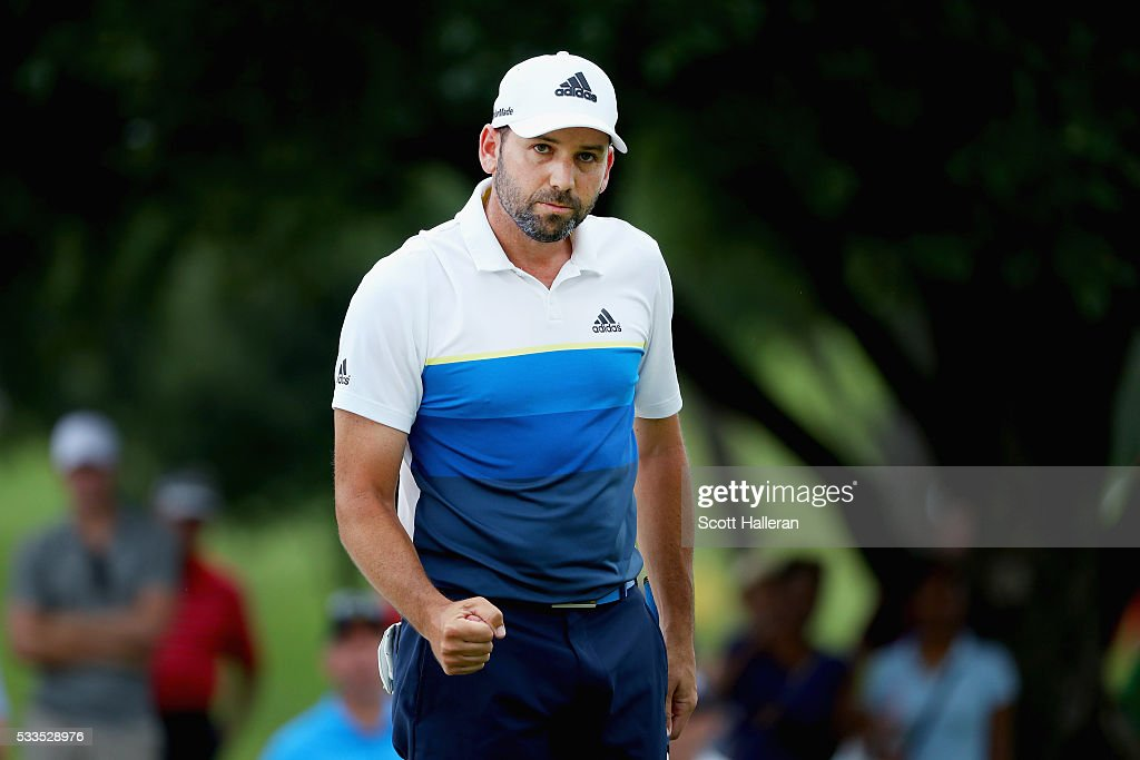 Sergio Garcia of Spain reacts after a putt on the eighth green during the Final Round at AT&T Byron Nelson on May 22, 2016 in Irving, Texas.