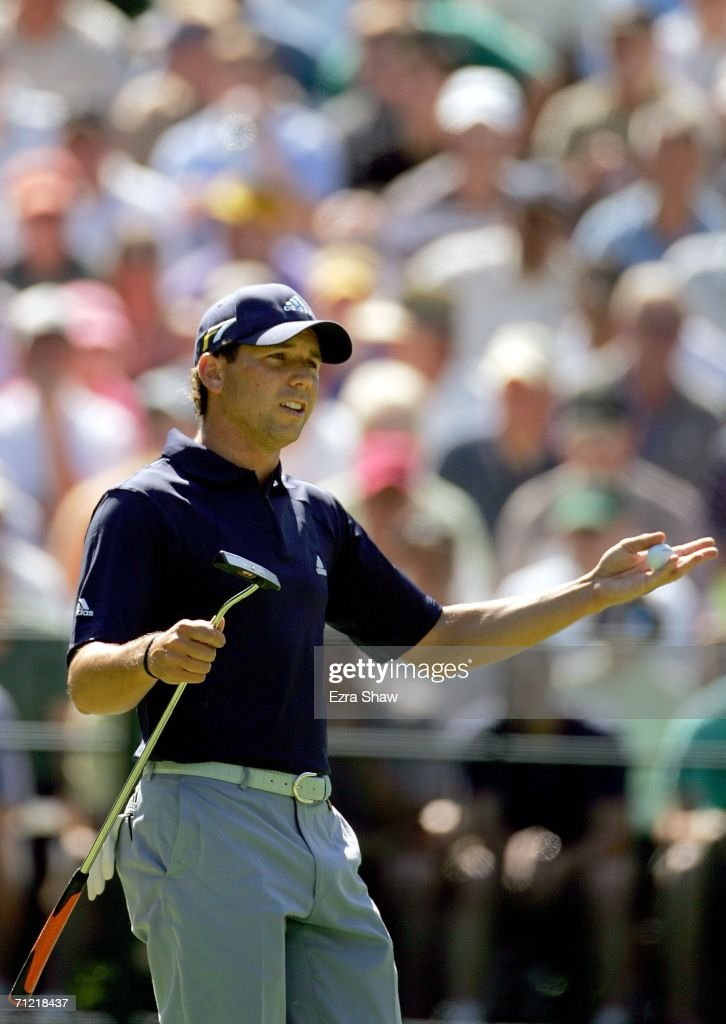 Sergio Garcia of Spain reacts after missing a putt for birdie on the seventh hole during the second round of the 2006 US Open Championship at Winged...