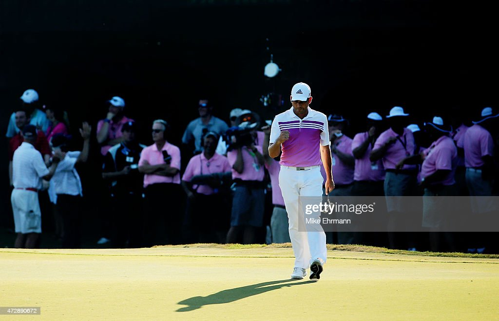 Sergio Garcia of Spain reacts after putting for birdie on the 17th green during the final round of THE PLAYERS Championship at the TPC Sawgrass Stadium course on May 10, 2015 in Ponte Vedra Beach, Florida.