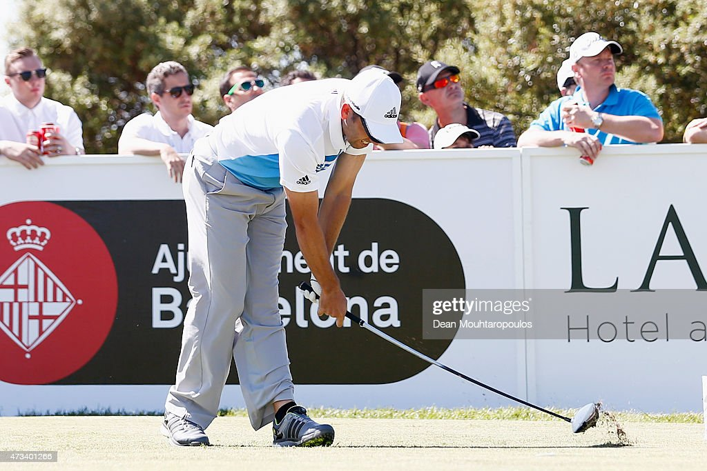 Sergio Garcia of Spain reacts by hitting his club on the ground after his tee shot on the 2nd hole during Day 2 of the Open de Espana held at Real Club de Golf el Prat on May 15, 2015 in Barcelona, Spain.