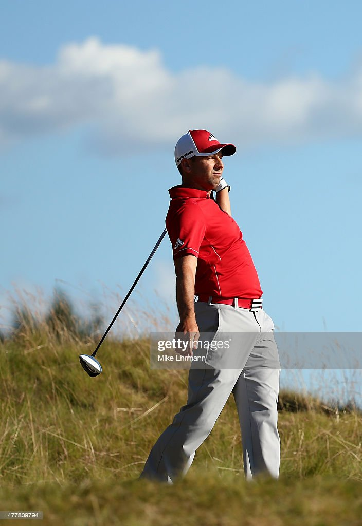 Sergio Garcia of Spain reacts on the 14th tee during the second round of the 115th U.S. Open Championship at Chambers Bay on June 19, 2015 in University Place, Washington.