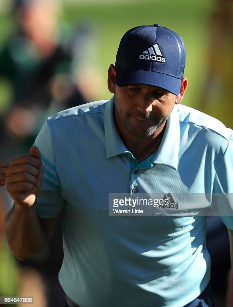 Sergio Garcia of Spain reacts on the 15th hole during day three of the Andalucia Valderrama Masters at Real Club Valderrama on October 21 2017 in...