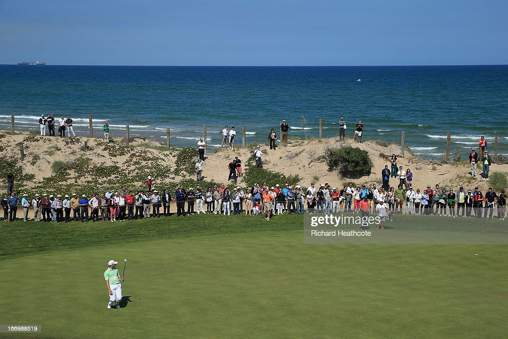 Sergio Garcia of Spain reacts to a birdie putt on the 8th green during the second round of the Open de Espana at Parador de El Saler on April 19 2013...
