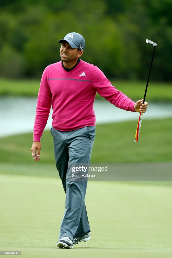 Sergio Garcia of Spain reacts to a missed putt on the green of the eighth hole during round three of the Shell Houston Open at the Golf Club of Houston on April 5, 2014 in Humble, Texas.