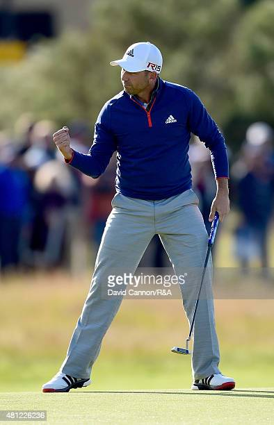 Sergio Garcia of Spain reacts to a putt for birdie on the 17th hole during the second round of the 144th Open Championship at The Old Course on July...