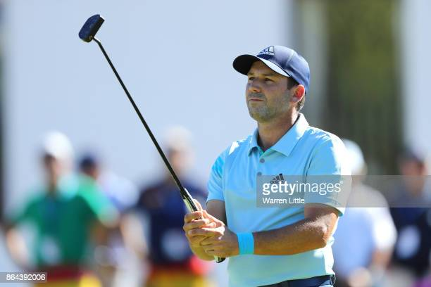Sergio Garcia of Spain reacts to a putt on the 9th green during day three of the Andalucia Valderrama Masters at Real Club Valderrama on October 21...