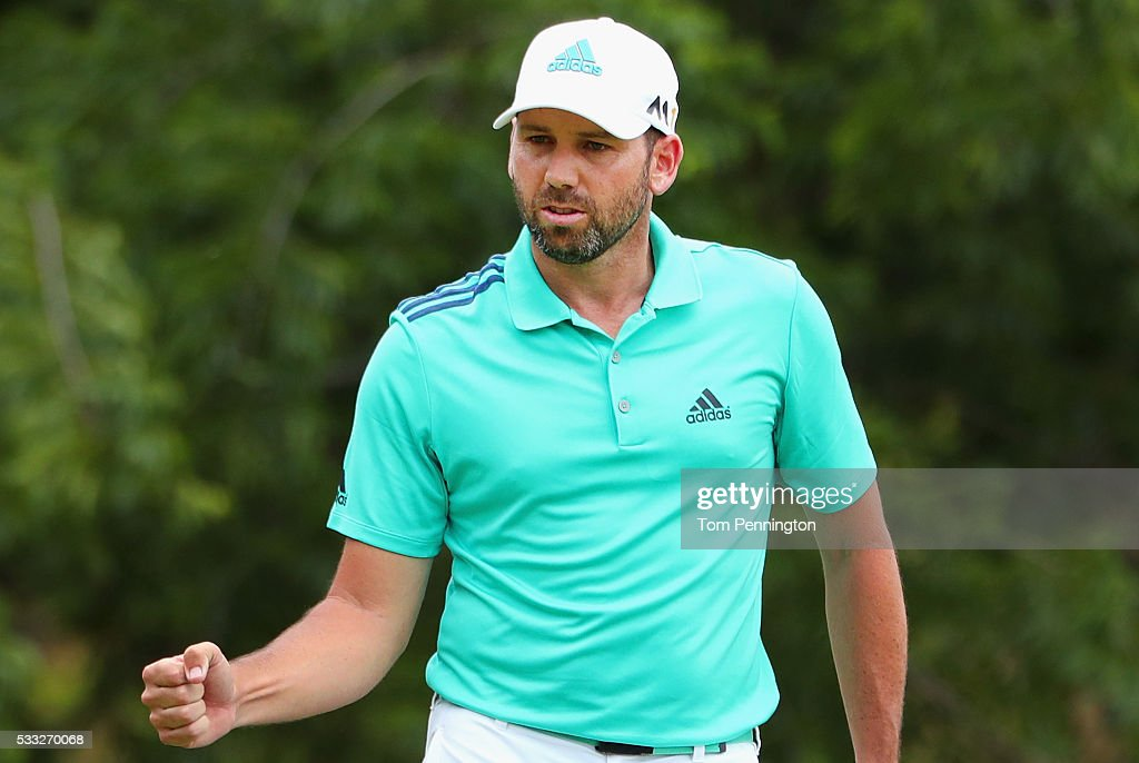 Sergio Garcia of Spain reacts to a putt on the eighth green during Round Three at the ATT Byron Nelson on May 21 2016 in Irving Texas